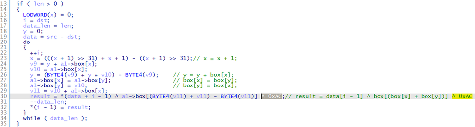 Part of Gh0stTimes code to encrypt data with RC4