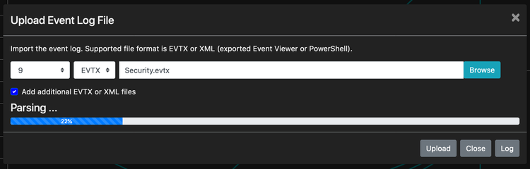 Uploading event log in LogonTracer