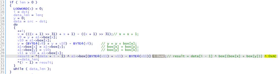 Gh0stTimesのRC4暗号化を行うコードの一部